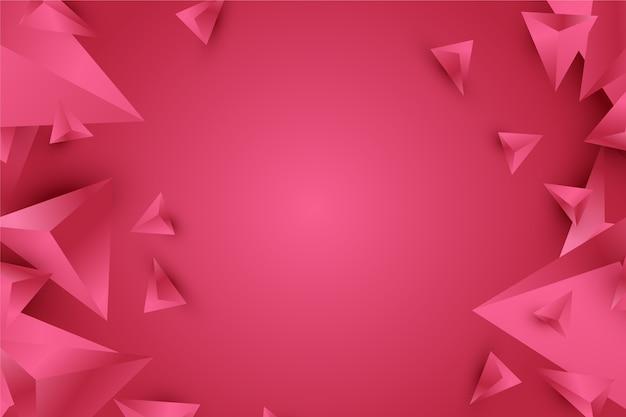 鮮やかなピンクの色調で背景3 d三角形デザイン