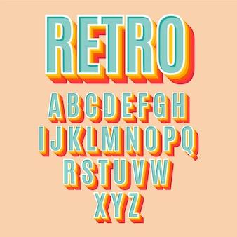 3 dレトロなアルファベットコレクション