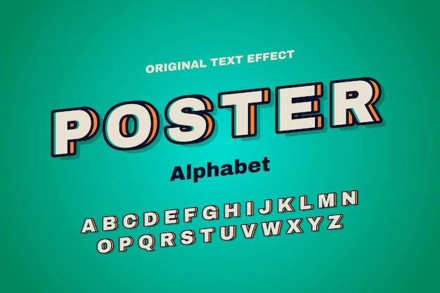 3 dのレトロなコンセプトのアルファベットコレクション