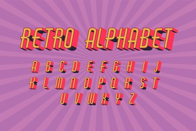 3 dレトロなアルファベットデザイン