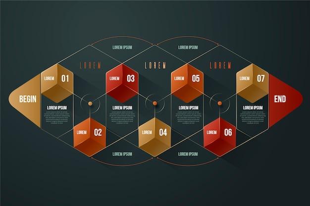 3 dの光沢のあるインフォグラフィックテンプレートデザイン