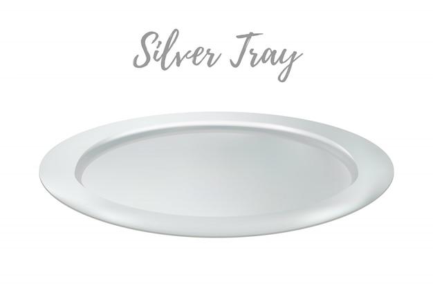 3 dリアルなシルバートレイ - レストランの金属製の盆