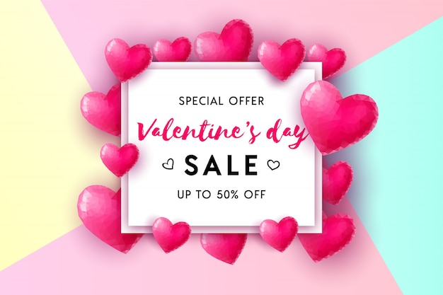 バレンタインデーの販売コンセプトの背景。白い正方形のフレームの3 dピンクの低ポリハート。ウェブサイト、壁紙、チラシ、招待状、ポスター、パンフレット、バナーのイラスト