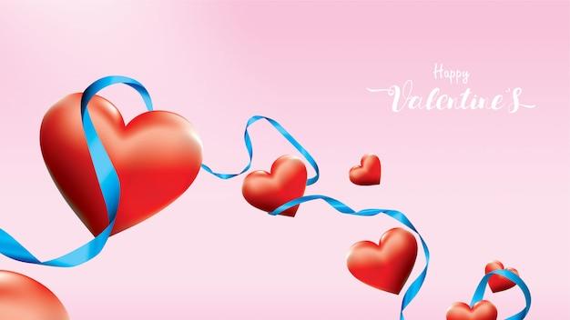 バレンタイン3 dカラフルな赤ロマンチックな心図形飛行とピンクの背景に青い絹のリボンを浮動します。