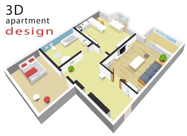 アパートの3 dアイソメトリックフロアプラン。モダンな等尺性インテリアのベクトルイラスト。
