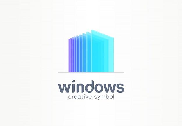 3 dの窓、ガラスの創造的なシンボルのコンセプト。建設、建築、不動産、抽象的なビジネスのロゴのアイデア。ホーム、ビルド、家のアイコン