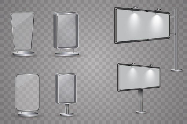 空白の3 dバナーポスター表示画面看板ベクトルを設定します。マーケティングとプロモーションのイラストの広告ボード
