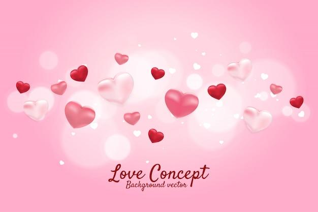 ハート3 dバルーン飛んでグラフィック背景のコンセプト。バレンタインデーと愛のテーマのバナーとポスター