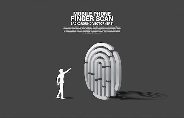 ビジネスマンは指スキャン3 dで拇印をタッチします。ネットワーク上のセキュリティとプライバシー技術のための概念