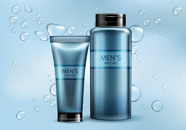 メンズ化粧品製品ライン3 dリアルなベクトル広告モックアップ。スキンケアクリーム、シャンプー、シェービングフォームまたはローションのプラスチック製のチューブ、水の気泡とグラデーションの背景にガラス瓶のイラスト