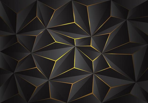 灰色の3 d三角形ポリゴンパターンは黄色の光の背景をクラックします。