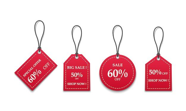 白い背景に分離された3 d赤い紙の値札販売