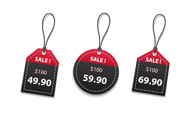 白い背景に分離された3 dの赤と黒の紙の値札販売