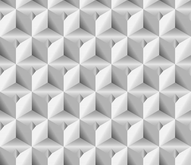 ボリュームリアルな質感、グレーの3 dキューブ正方形の幾何学的なシームレスパターン
