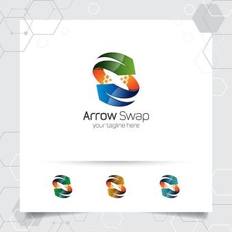 デジタルビジネスのためのカラフルなモダンなスタイルの概念と3 d矢印ロゴベクトルデザイン