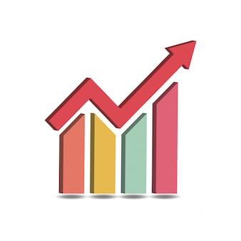 ビジネスグラフアイコンベクトル3 d