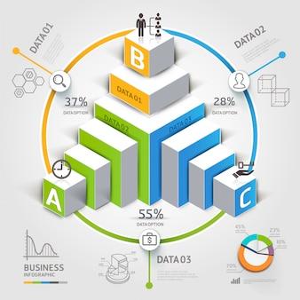 3 d階段図モダンなビジネスステップオプション。