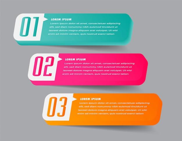 現代の紙テキストボックステンプレート、3 dバナーインフォグラフィック