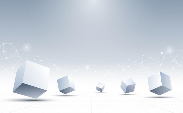 抽象的な3 dキューブの背景。科学技術の背景。抽象的な背景。 。