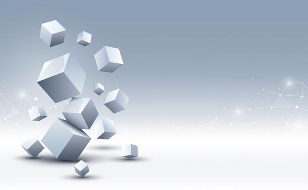 抽象的な3 dキューブの背景。科学技術の背景。抽象的な背景