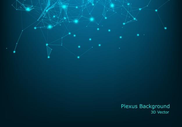 抽象的な3 dの未来的な点と線。コンピューターの幾何学的なデジタル接続構造。未来的な黒の抽象的なグリッド。