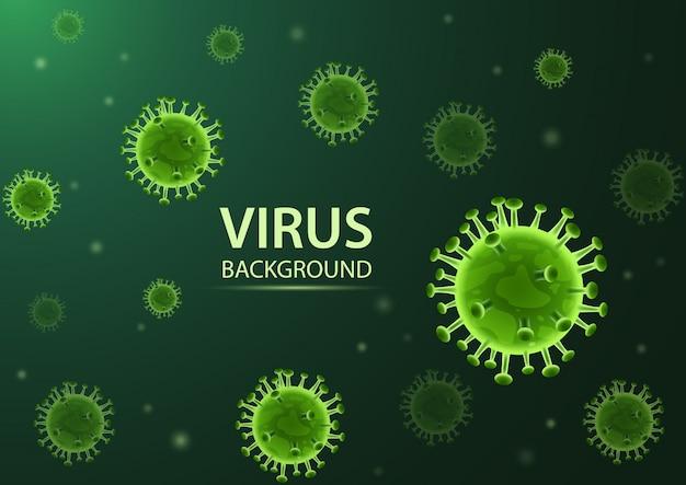 ウイルス。緑の背景に分離された抽象的な3 d微生物。図