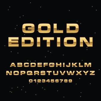 3 dゴールドレタリングアルファベットプレミアムベクター