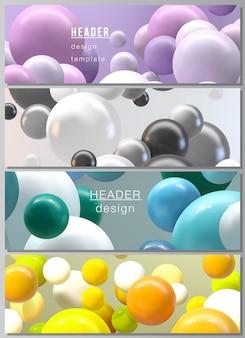 ヘッダーのレイアウト、ウェブサイトのフッターデザイン、水平チラシデザイン、ウェブサイトのヘッダーのバナーデザインテンプレート。カラフルな3 d球、光沢のある泡、ボールと抽象的な未来的な背景。