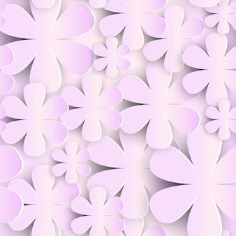 3 dの紙の花とのシームレスなパターンピンクの背景かわいいロマンチックな飾り