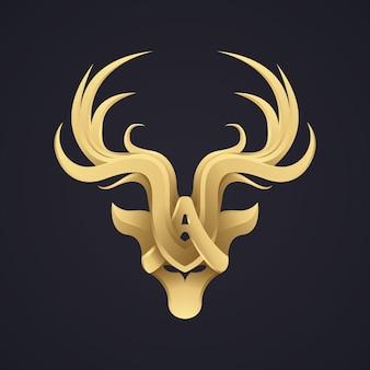 3 dのエレガントな金鹿デザインロゴタイプ。プレミアム高級絵文字ロゴ。