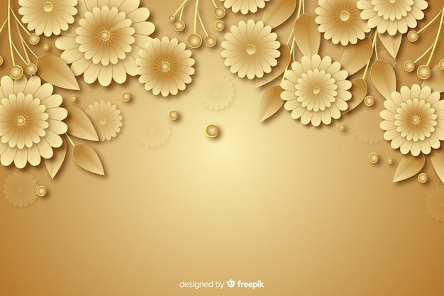 3 dの黄金の花の装飾的な背景