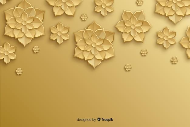 3 dの黄金の花と自然の背景