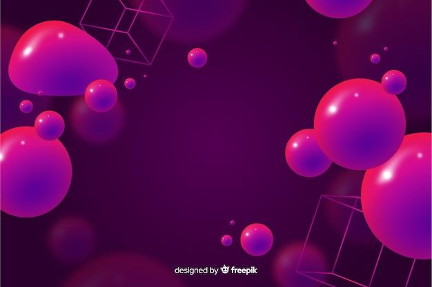 3 dの流体形状と抽象的な背景
