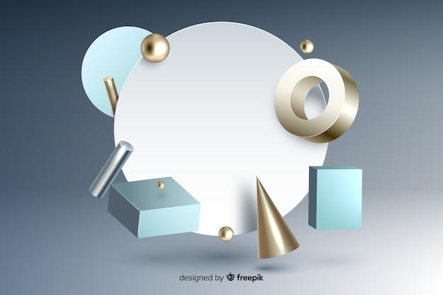灰色のグラデーションの表面に幾何学的形状の3 d効果を持つ空白のバナー