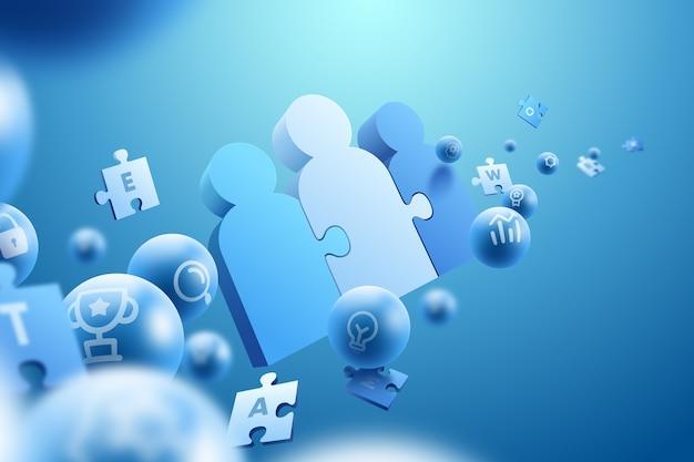 3 d効果のチームワークの概念の背景