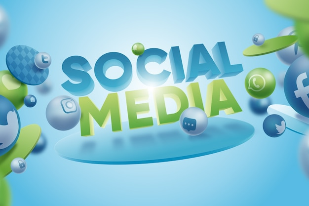 3 dのソーシャルメディアの背景