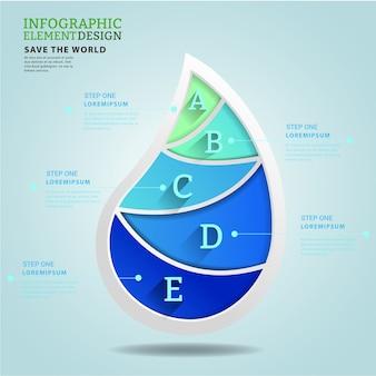 3 d水の形とエコロジーの概念のアイデアのインフォグラフィック。