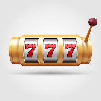 カジノのスロットマシン。 3 dギャンブルリール、ラッキーシンボル分離ベクトル図です。