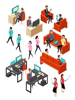 等尺性ビジネスオフィスの人々のネットワーク。孤立した3 dプロの人ベクターセット