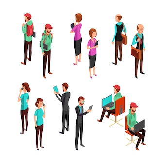 等尺性3 dビジネス人々が分離されました。オフィスの男性と女性プロのチームワークベクトルを設定