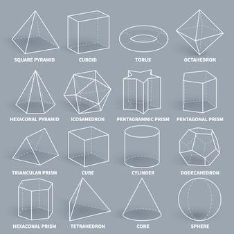 抽象的な3 d数学幾何学的なアウトライン図形ベクトルセット