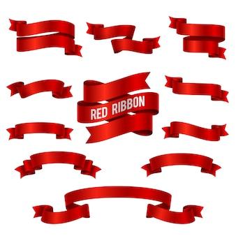 シルクレッドの3 dリボンバナーベクトル分離設定。装飾渦巻きの赤いリボンコレクションのイラスト