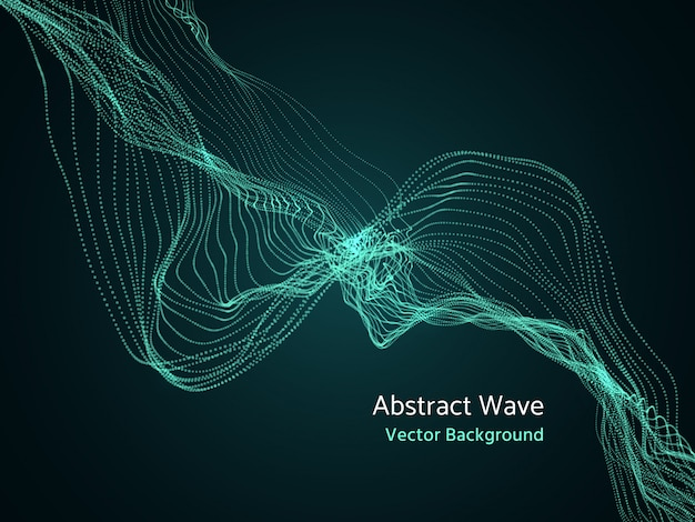 動的粒子配列、3 dの抽象的な音楽の波。ダイナミクスベクトルの概念