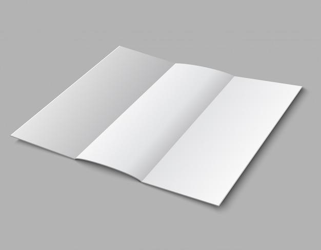 白紙折られたリーフレット。 3 dの白い空白のブロードシートテンプレート