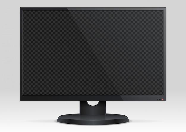 透明スクリーン3 dと空のコンピューター液晶モニター