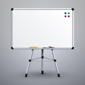 三脚のオフィスプレゼンテーションホワイトボード。空白の教室白掲示板3 dベクトル図です。三脚用プレゼンテーション用ホワイトボード