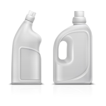 家庭用化学空白3 dプラスチック製の白いボトル。トイレ消毒クリーナーボトルベクトルイラストが分離されました。クリーナーボトル容器、清掃用洗剤製品