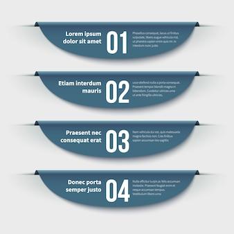 インフォグラフィックバナー。手順とオプションの3 dのカラフルなラベル。レイアウトとプレゼンテーションの情報グラフィック