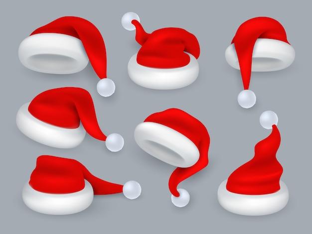 サンタの帽子。クリスマス3 dサンタクロースの帽子、毛皮と冬の休日の赤い帽子