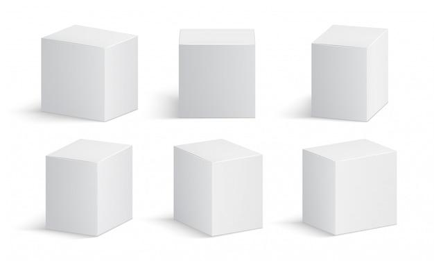 白い箱。空白の薬のパッケージ。医療製品の段ボール箱3 dベクトル分離モックアップ